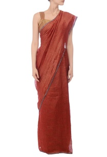 deep-red-gold-zari-striped-linen-sari