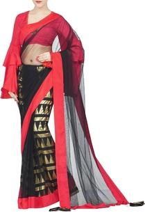 black-red-gold-cone-foil-petticoat-sari