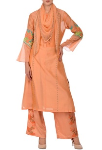 peach-flower-motif-embroidered-kurta-palazzo-set