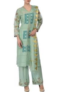 aqua-gold-floral-printed-embroidered-kurta-set