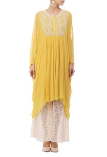 yellow-ivory-embroidered-flared-tunic