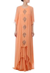 peach-embellished-layered-maxi-dress