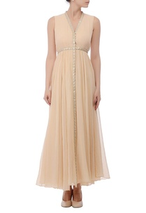 beige-embellished-gathered-dress