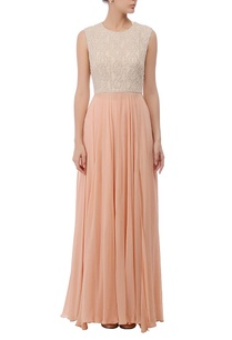 ivory-peach-embroidered-maxi-gown