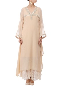 pale-beige-embellished-flared-tunic