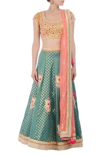 mustard-green-peachy-pink-embroidered-lehenga-set