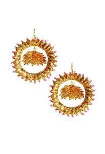 gold-gota-pink-bead-pearl-earrings