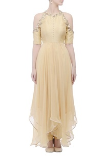 beige-cold-shouldered-gown