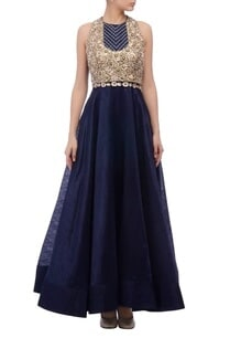 blue-yoke-embellished-gown