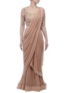 coffee-brown-embroidered-sari