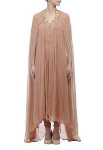 peach-embellished-neck-kurta-set