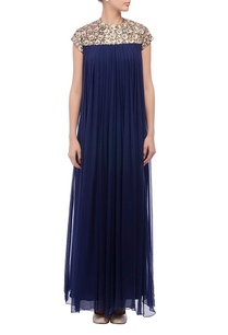 blue-embellished-pleated-gown