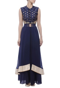 blue-embroidered-yoke-kurta-lehenga