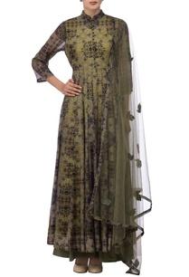 olive-green-motif-printed-kurta-set