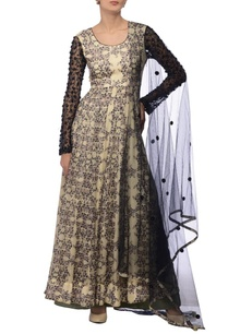 cream-black-printed-embroidered-kurta-set