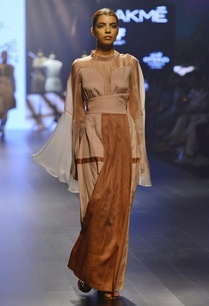nude-toffee-panel-pleated-wrap-skirt
