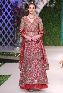 maroon-floral-embroidered-lehenga-set