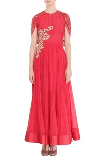 blush-red-anarkali-with-cape