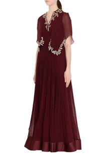 wine-red-pleated-anarkali-with-cape