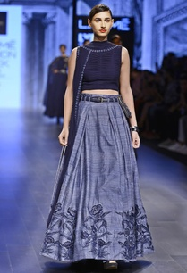 grey-blue-pleated-raw-silk-lehenga-set