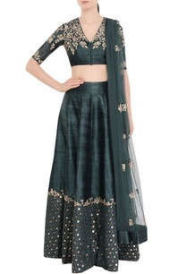 dark-green-gold-embellished-lehenga-set