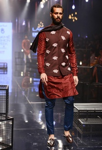 wine-kurta-teal-pants-with-bandi