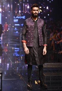 black-kurta-churidar-with-purple-bandi