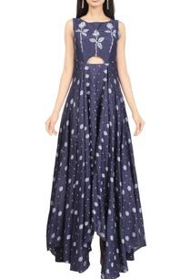 indigo-floral-handwoven-jamdani-cut-out-maxi-dress