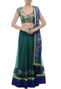 green-blue-embroidered-lehenga