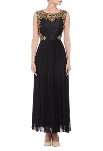 black-gold-embroidered-yoke-dress