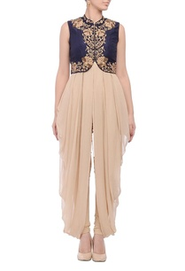 black-beige-embroidered-jacket-dress