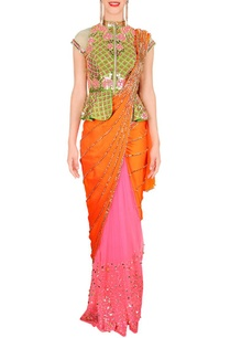 orange-green-peplum-pre-stitched-sari