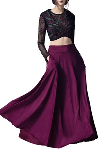 wine-black-embroidered-lehenga