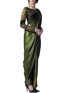 olive-green-draped-sari