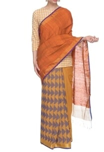 rust-orange-violet-handwoven-sari