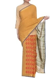 chrome-yellow-orange-handwoven-sari