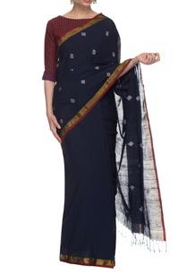 indigo-blue-khadi-motif-handwoven-sari