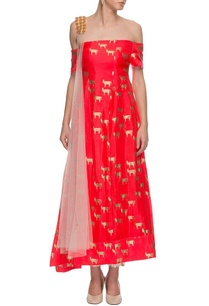 red-off-shouldered-printed-kurta-set
