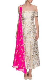 ivory-off-shouldered-printed-kurta-set