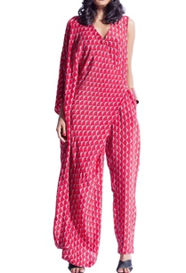 red-grey-draped-printed-jumpsuit