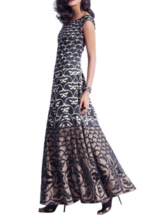 black-beige-butterfly-print-sequin-maxi-dress