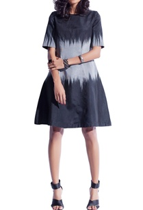 black-grey-ikat-shift-dress