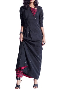 black-red-jamdani-maxi-dress-with-butterfly-prints