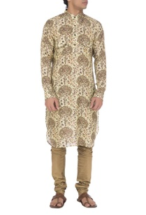 light-green-olive-printed-kurta