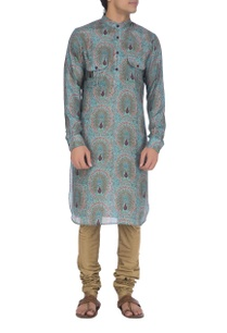 light-blue-violet-peacock-printed-kurta