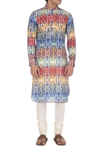 blue-red-yellow-brick-printed-kurta