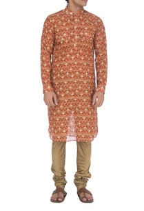 vermillion-red-floral-print-kurta