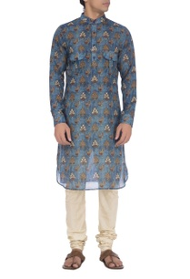 blue-peacock-printed-kurta