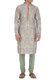 light-blue-orange-floral-printed-kurta