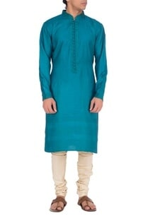 teal-blue-textured-kurta